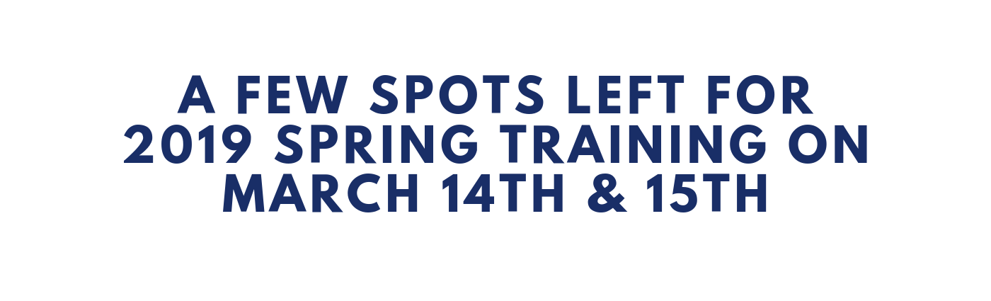 A Few Spots Left for 2019 Spring Training on March 14th & 15th