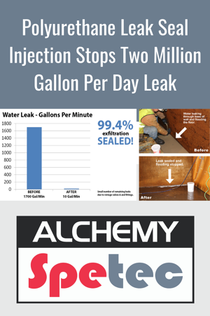 How polyurethane leak seal injection stopped a two million gallon per day leak at a water treatment plant.