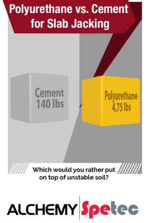 Polyurethane vs. Cement for Slab Jacking: We are often asked about the biggest advantages of lifting settled concrete slabs with polyurethane foam vs. cement grout.  In this blog post, we spell it out...