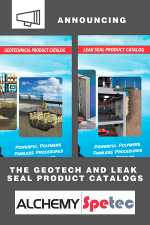 Alchemy-Spetec products will now officially be promoted under the Leak Seal and Geotech lines.  As holds true with most mergers (Alchemy Polymers and Spetec formed Alchemy-Spetec in 2017), the integration of products and services can take time.  This rebrand will be reflected in two separate product catalogs.  One for Leak Seal products and one for Geotech products. We are confident that the two-catalog offering is the best solution for our partners and customers.
