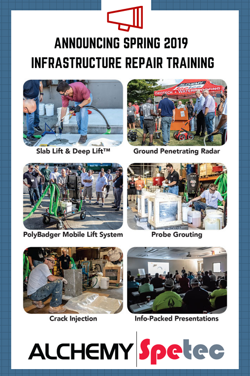 Leak Seal & Geotech Training Event - March 14 & 15, 2019 at Alchemy-Spetec HQ in Tucker, GA. A thorough education in Leak Seal, Slab Lifting, Soil Stabilization and the Alchemy-Spetec Deep Lift™ process. You'll get hands-on training from a technical staff with decades of on-the-job experience.