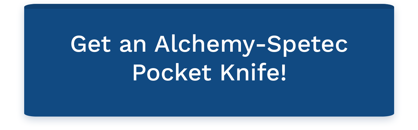 Get a complimentary Alchemy-Spetec pocket knife at World of Concrete 2019!  Drop by to see us at Booth # O40551 in the Silver Lots (same location we were in last year).  Show us a social media post you made with the hashtag #AlchemySpetecWOC and you'll receive one absolutely free!