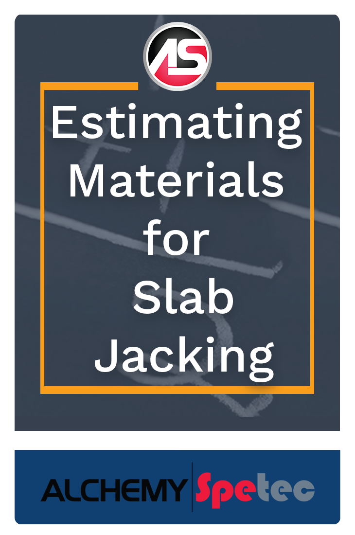 Through a combination of easy calculations, product information, and some site considerations, you should be able to estimate your slab lifting materials without too much trouble.