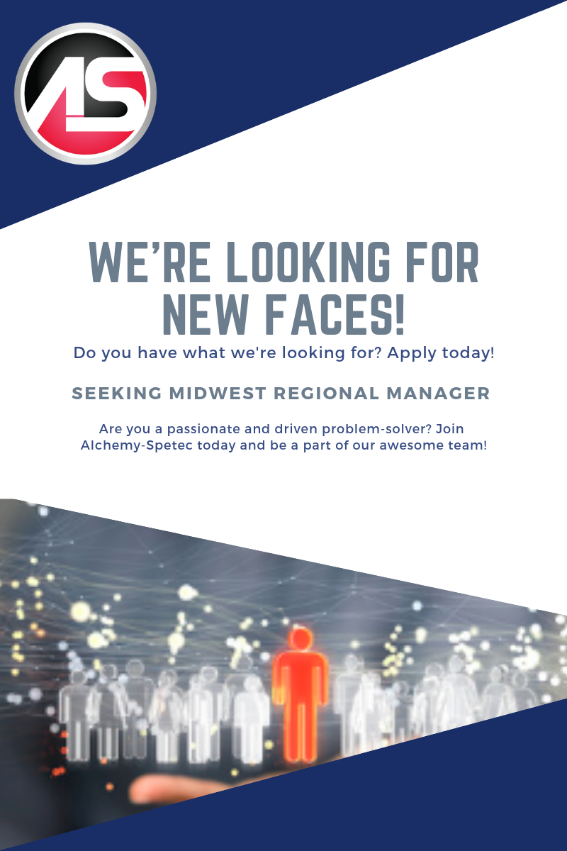 The quickly-growing Alchemy-Spetec team is seeking a Regional Sales Manager for the Midwest to manage and promote the A-S Leak Seal and Geotech product lines in the construction industry. Please contact Jim Spiegel via LinkedIn message and/or email at jspiegel@alchemy-spetec.com for job descriptions or questions.